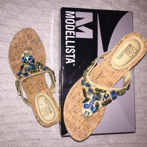 Modellista Accept Rhinestone Thong Wedge Sandals